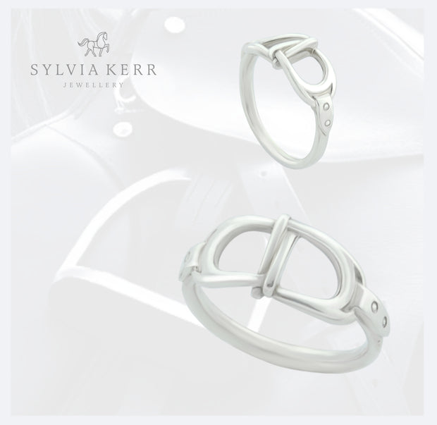 Silver Interlacing Stirrup Ring