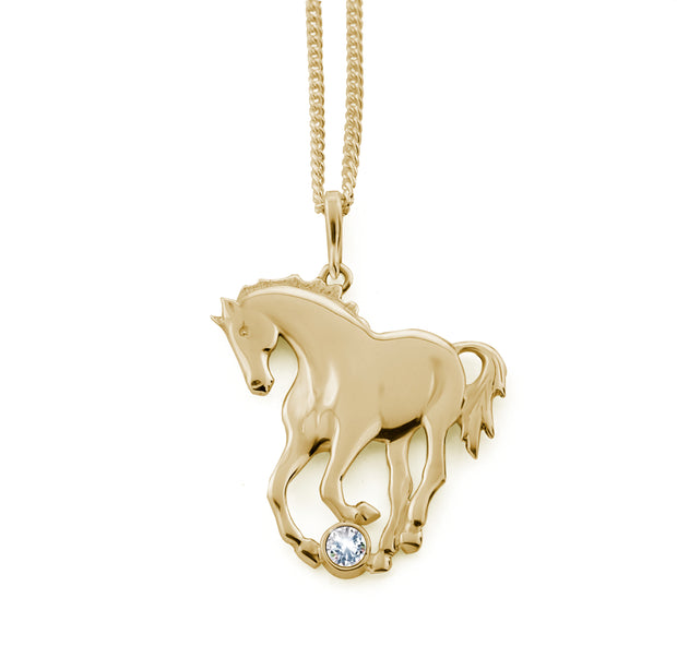 Gold & Diamond Prancing Horse Necklace