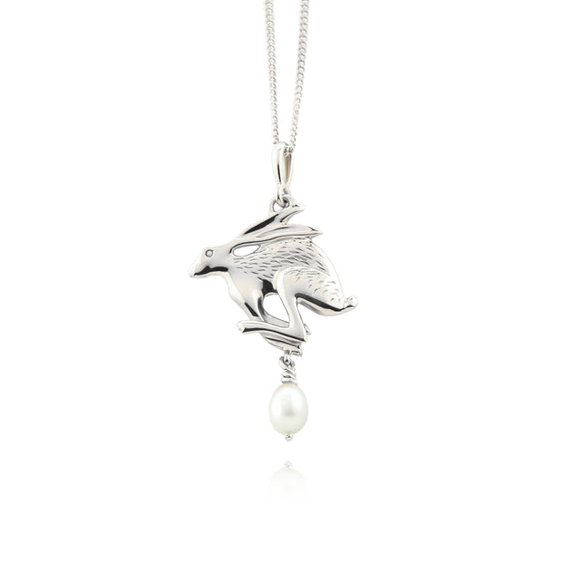 Designer solid silver gold Hare with cultured pearl drop necklace.