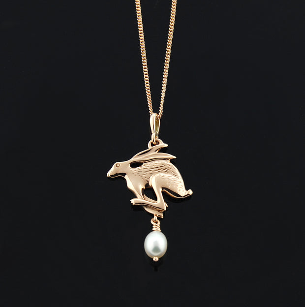 designer rose gold Hare with pearl drop necklace
