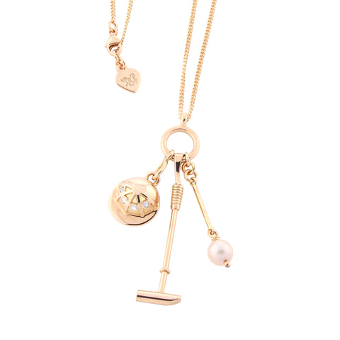 solid 9ct gold, diamond and cultured pearl polo inspired necklace