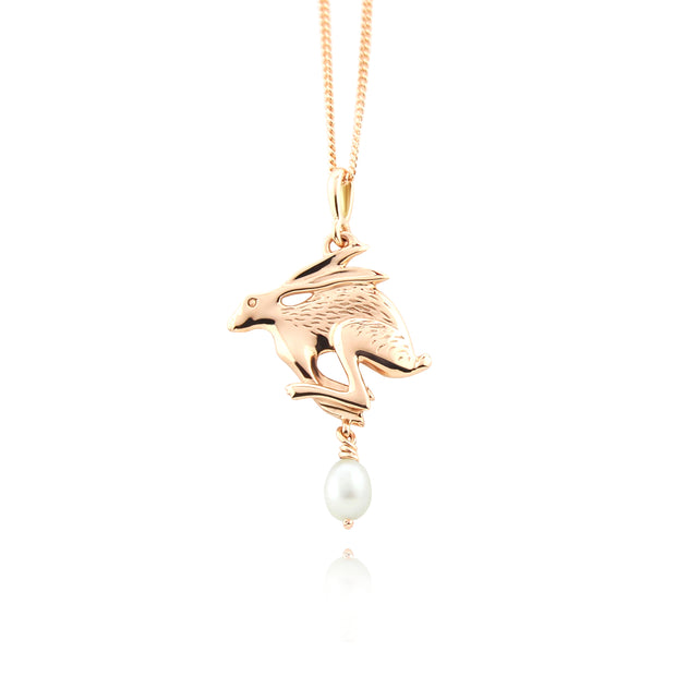 Designer solid 9ct rose gold Hare with cultured pearl drop necklace