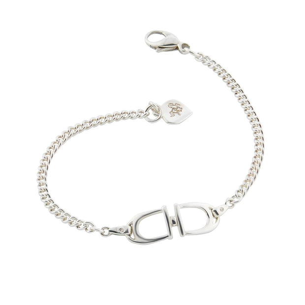 Solid silver designer double stirrup and chain bracelet