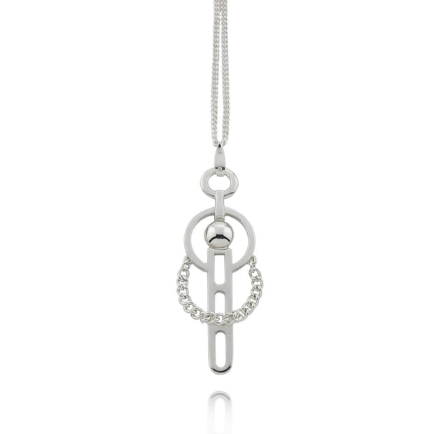 Silver Carriage Pendant on Chain