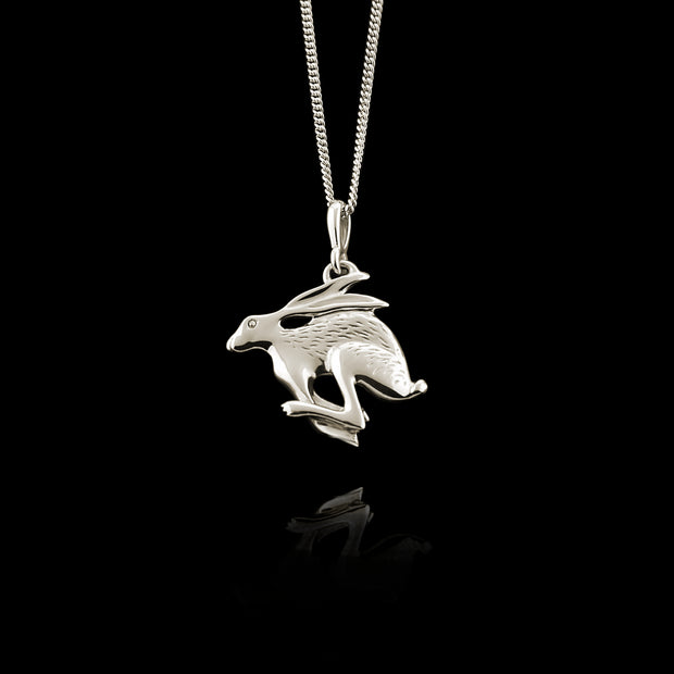 silver handcarved Hare necklace
