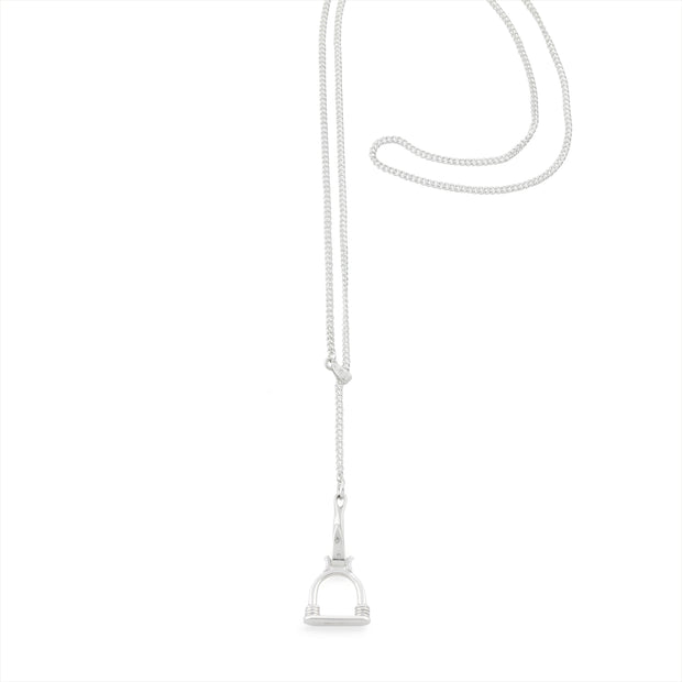 Silver Stirrup Badminton Lariat Necklace
