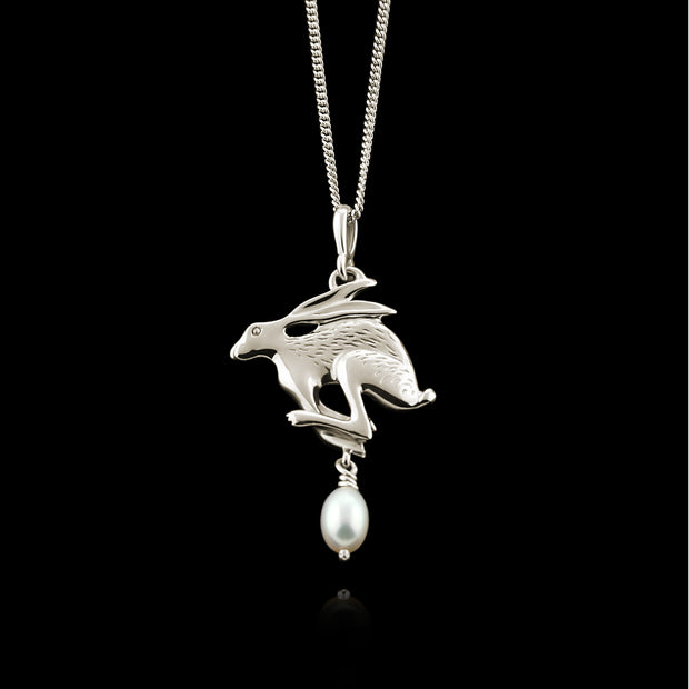 Silver Hare & Pearl Necklace