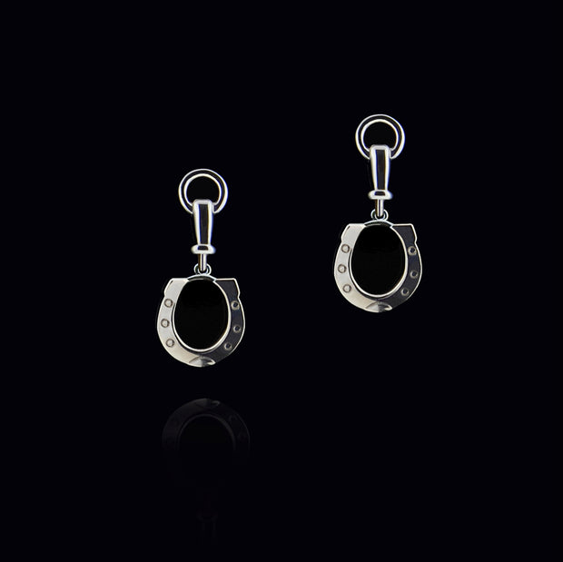 silver horseshoe drop earrings with bit top detail
