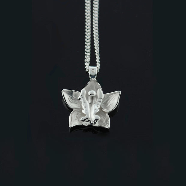 designer handcarved Silver orchid necklace