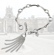 Designer solid silver equestrian  bit bracelet with detachable chain tassel