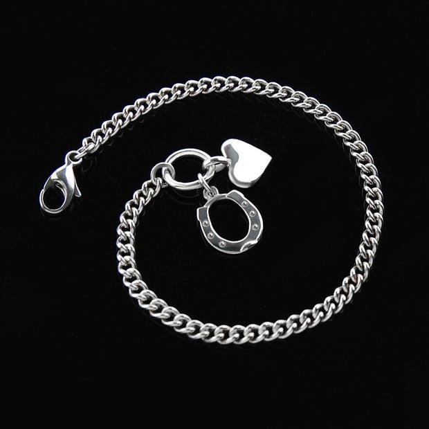 heavy chain horseshoe and heart bracelet