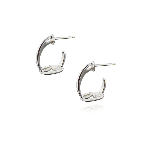 designer solid silver stirrup inspired hoop earrings on a white background.