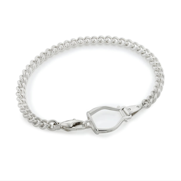 Silver His/Hers Heavy Stirrup & Chain Bracelet