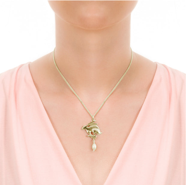 Gold Hare & Pearl Necklace