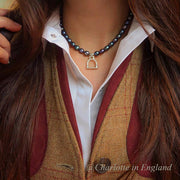 black cultured pearl necklace worn by blogger charlotte in england