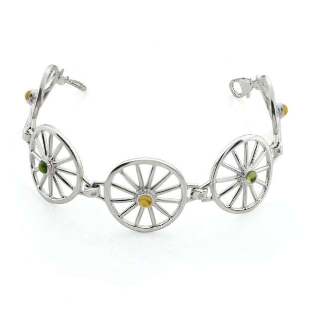 Silver Carriage Wheel & Gemstone Bracelet