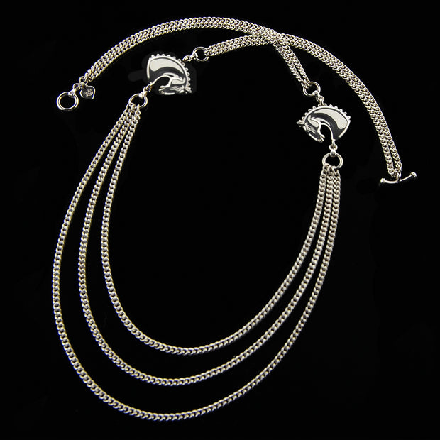 designer silver double horsehead and triple chain neckpiece