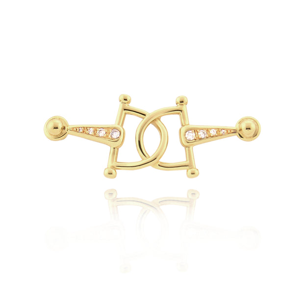 designer solid gold and eight diamond, horsebit stockpin brooch.
