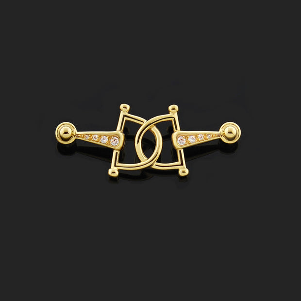 solid gold and diamond, horsebits designer brooch