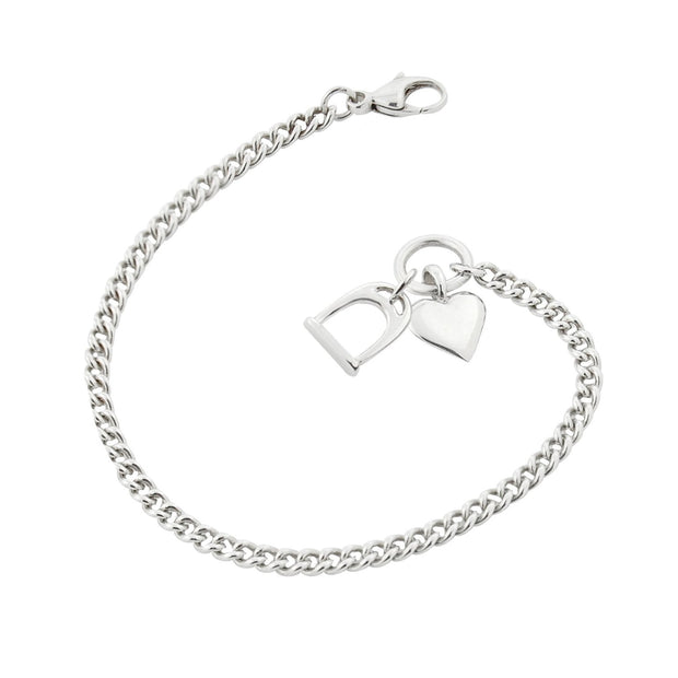 heavy chain stirrup and heart bracelet