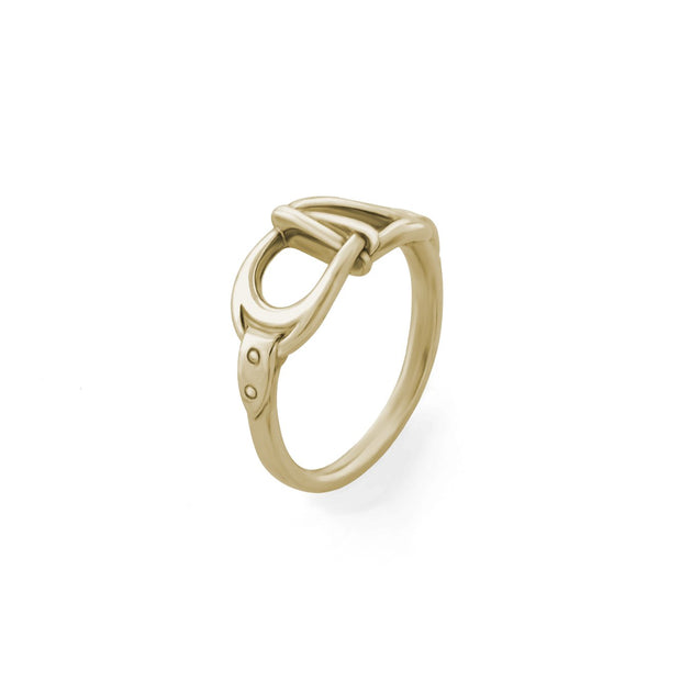 designer gold interlacing stirrup ring on white background