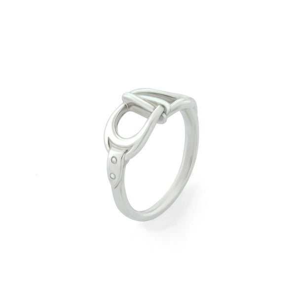 designer white gold interlacing stirrup ring