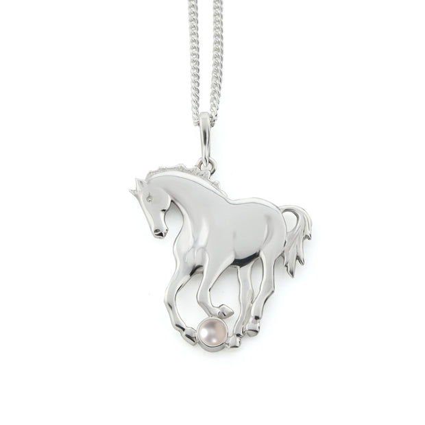Silver Prancing Horse Necklace