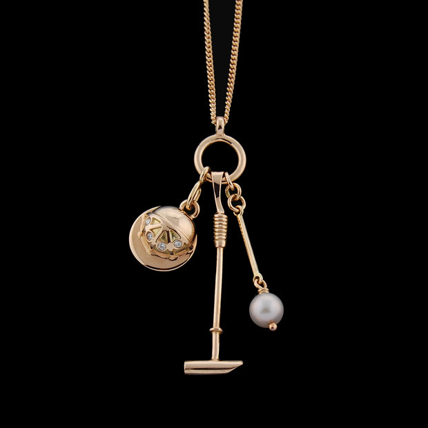 rose gold diamond and pearl polo necklace