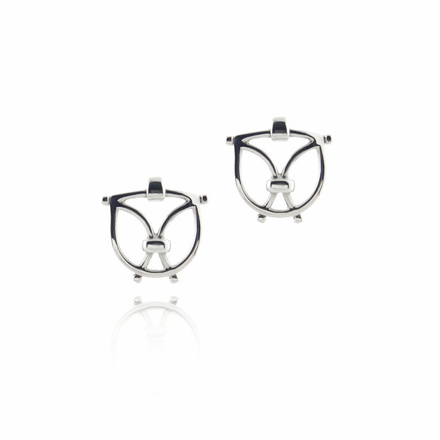 solid silver designer wrought iron inspired earrings on white background.