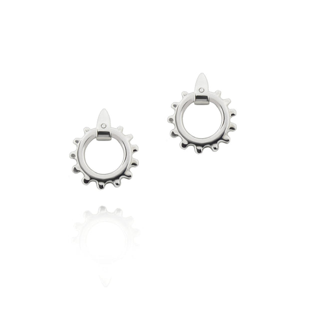 designer solid silver equestrian swivel earrings
