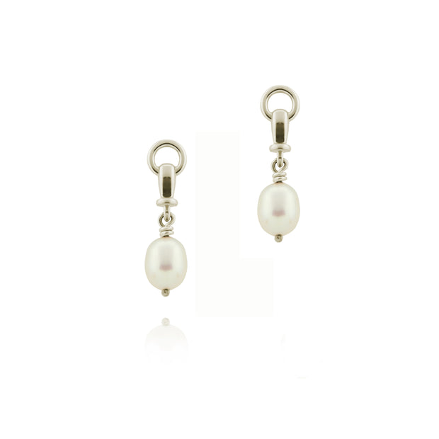 designer solid silver and cultured pearl ascot drop earring on white background.