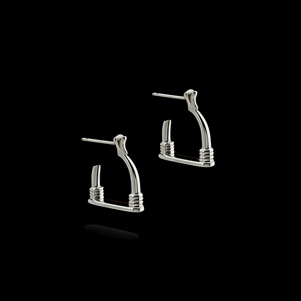 Silver Stirrup Badminton Earrings