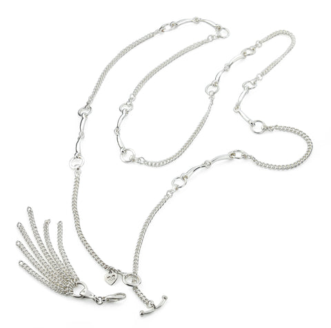 solid silver horsebit and curb chain necklace with chain tassel