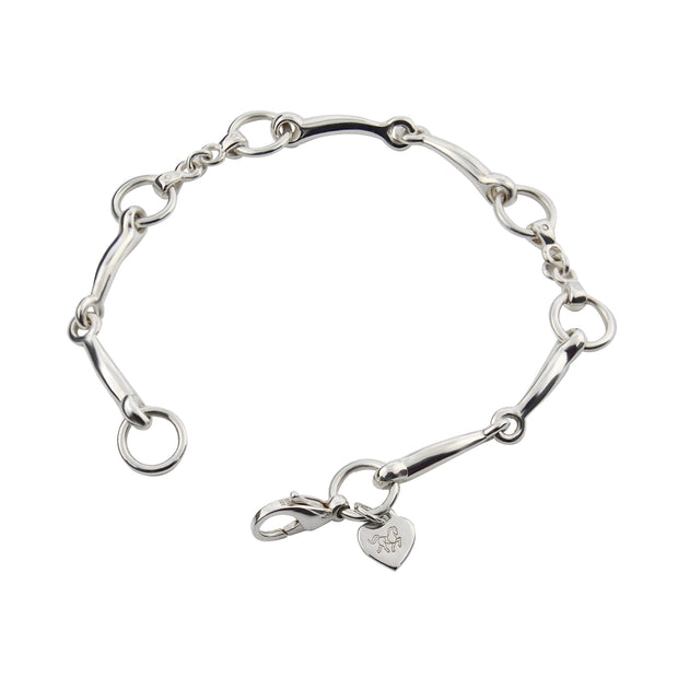 designer solid silver snaffle bit bracelet on white background