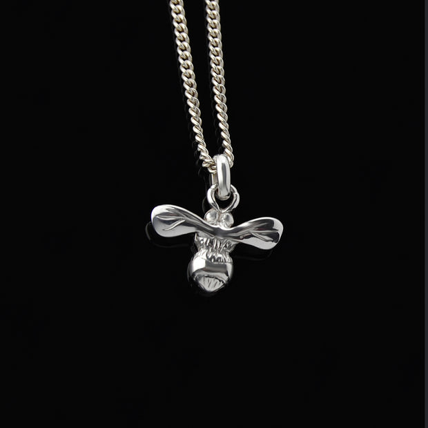 designer silver carved honey bee necklace
