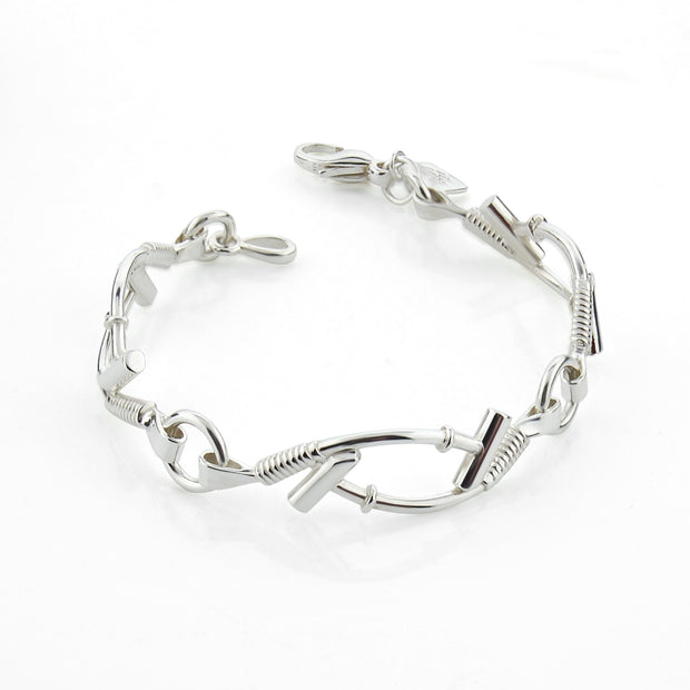 Ladies solid sterling designer Silver chukka Polo mallet bracelet