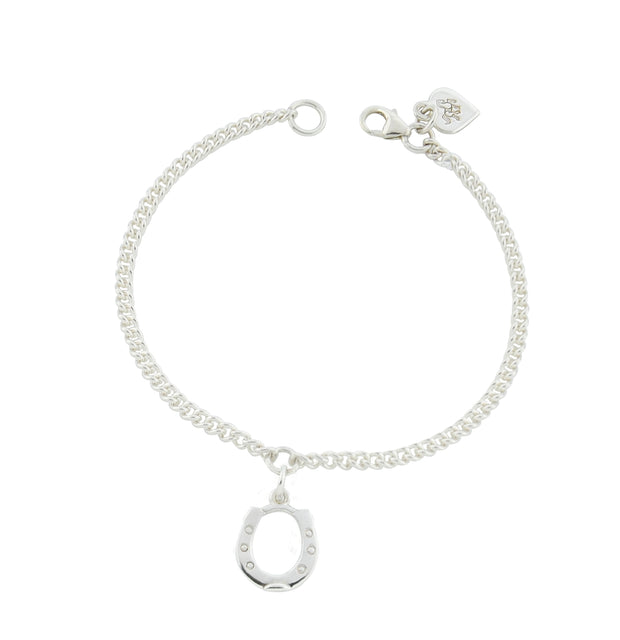 designer silver chain equestrian bracelet with horseshoe charm