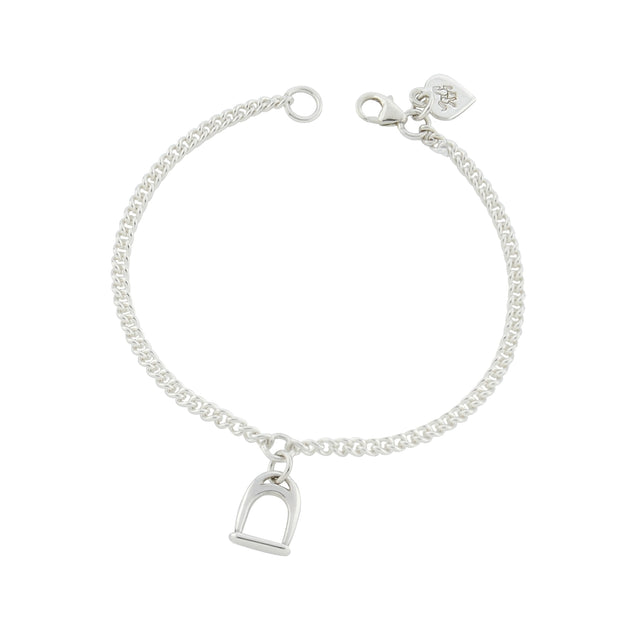 designer  solid silver stirrup and chain bracelet on white background.