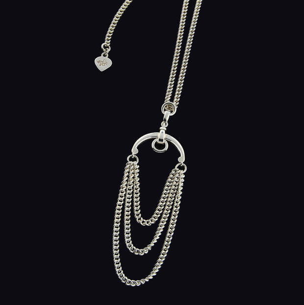 designer solid silver three chain necklace inspired by a pelham horsebit.