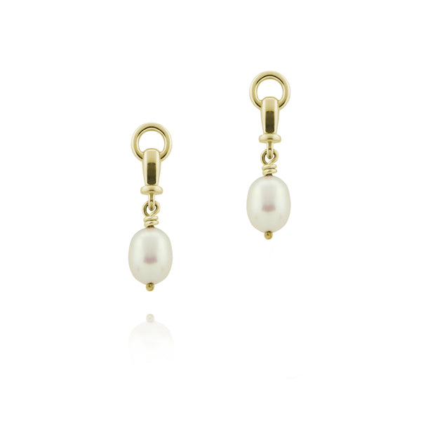 designer gold and cultured pearl ascot drop earrings on white background