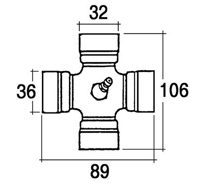 PTO UNIVERSAL JOINT 80° WIDE ANGLE 32*89 X 36*106