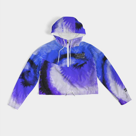 Tie Dye Whole Lotta Cropped Windbreaker - Blue/Purple