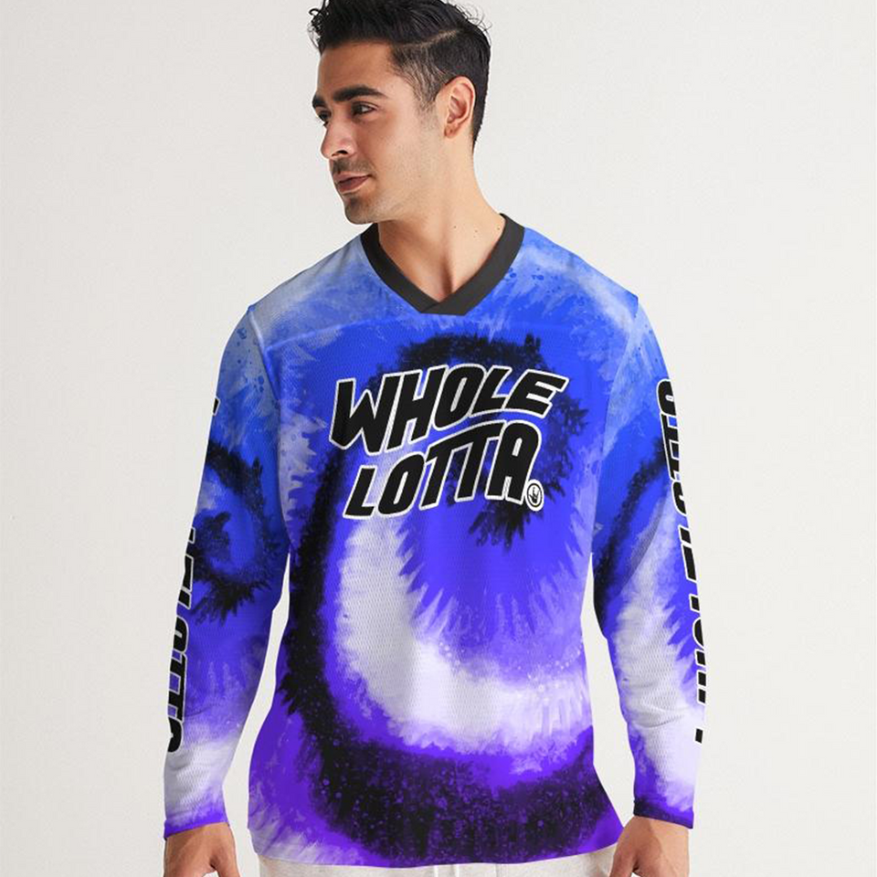 Tie Dye Long Sleeve Sports Jersey -Blue/Purple