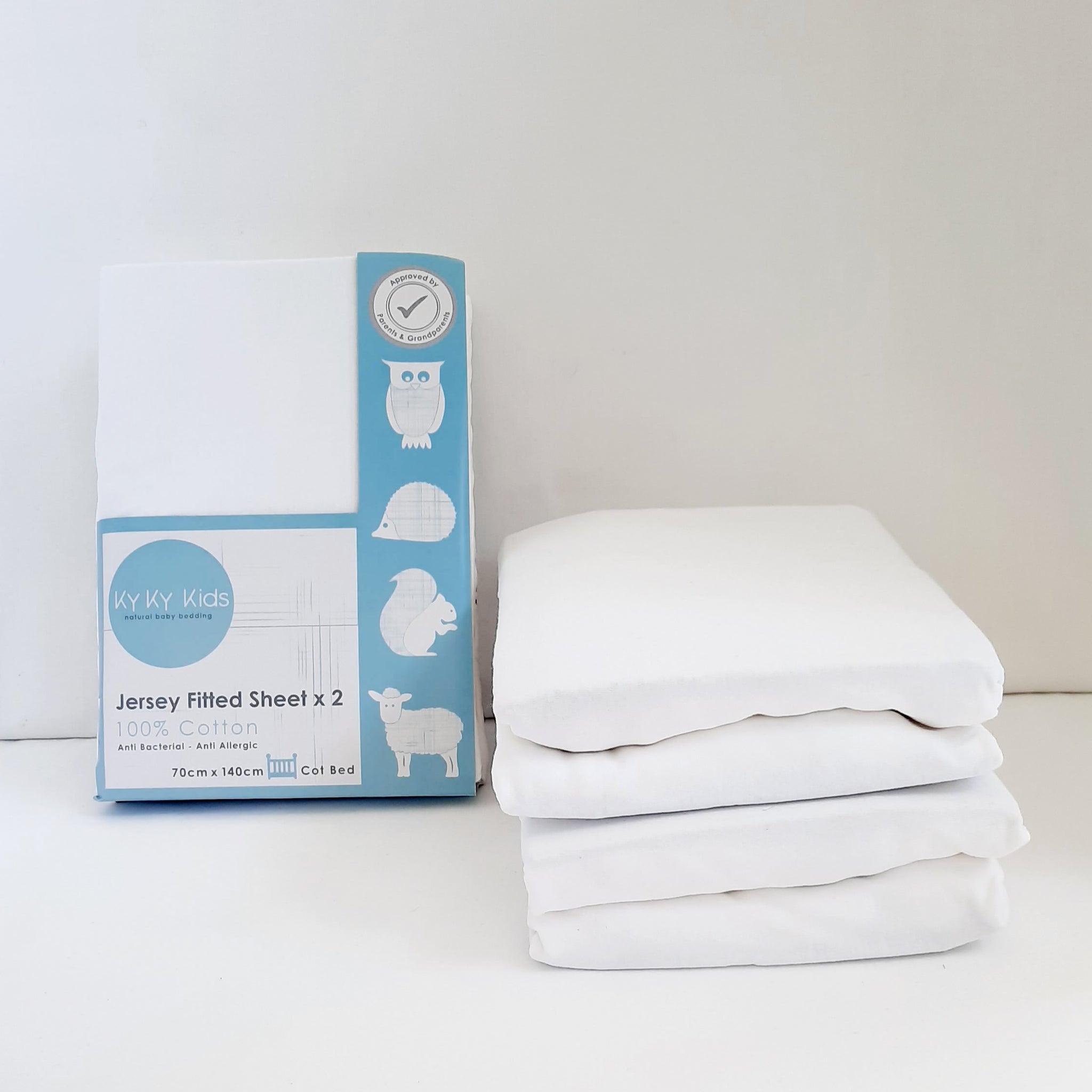 Cotbed Jersey Fitted Sheet 2 Pack - 70 x 140 cm