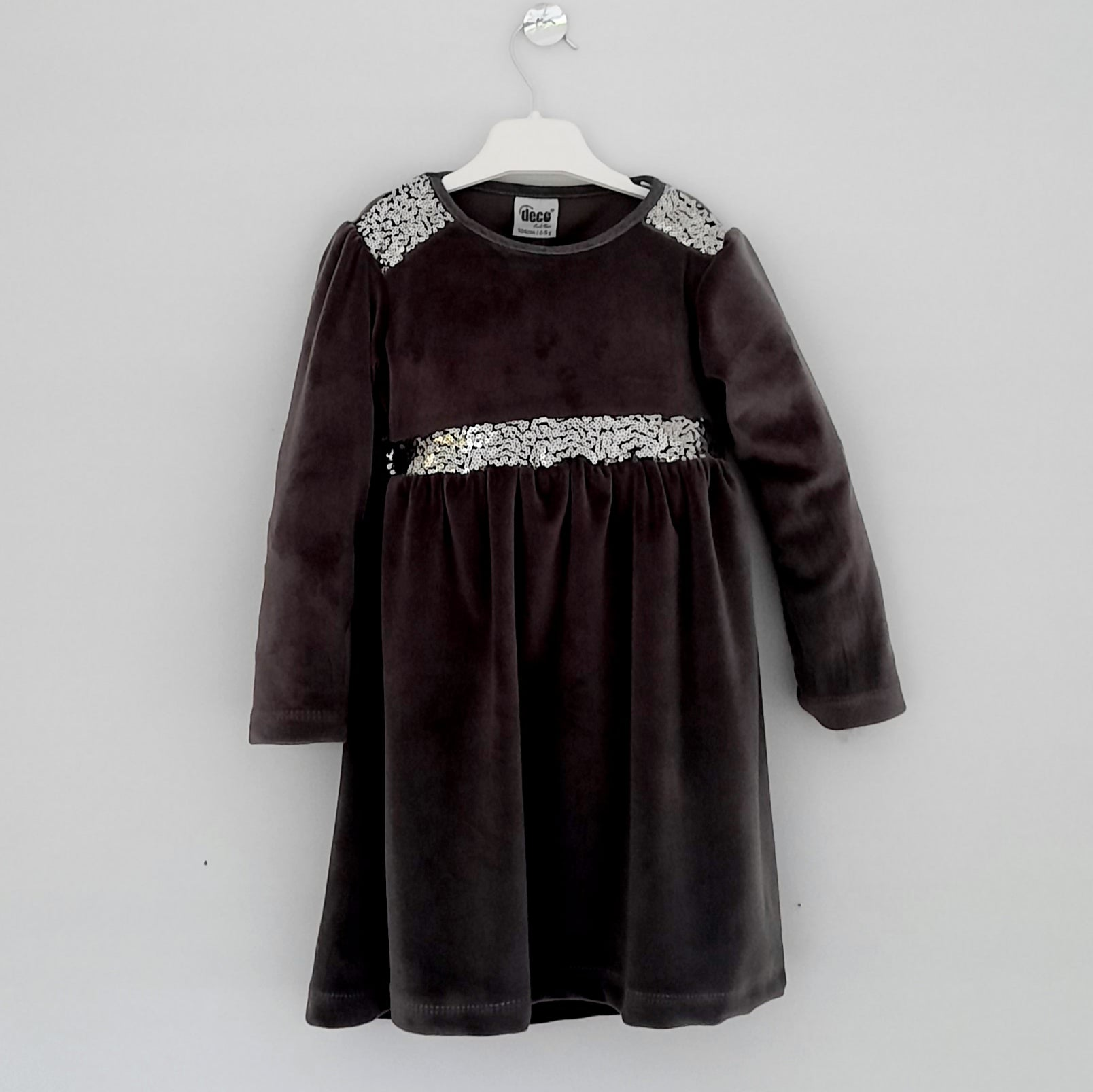 Silver Velvet Girls Dress