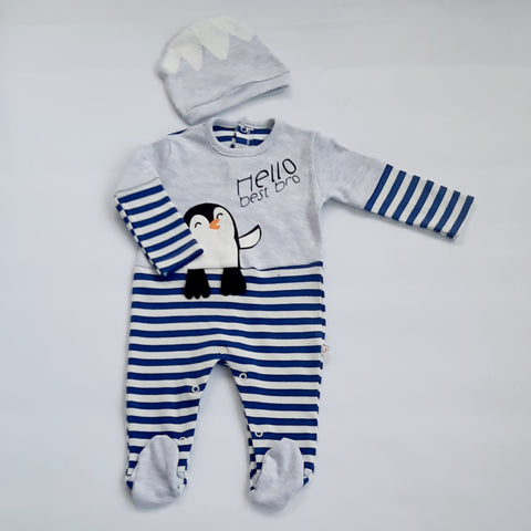 Boys Penguin Babygro & Hat