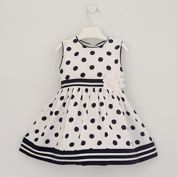 Selina Baby Girls Navy Polka Dot Dress
