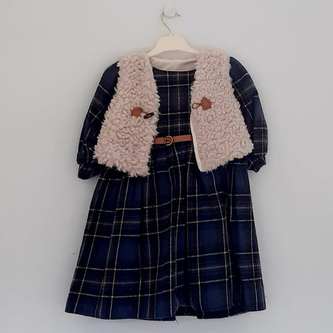Nell Girls Navy Tartan Dress