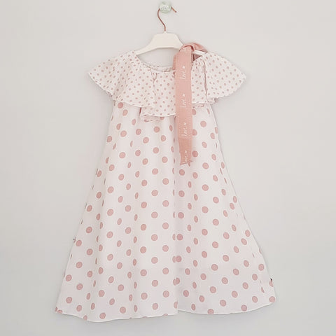 Barbara Girls Pink Polka Dress