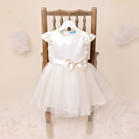 Avery Ivory Satin Flowergirls Dress